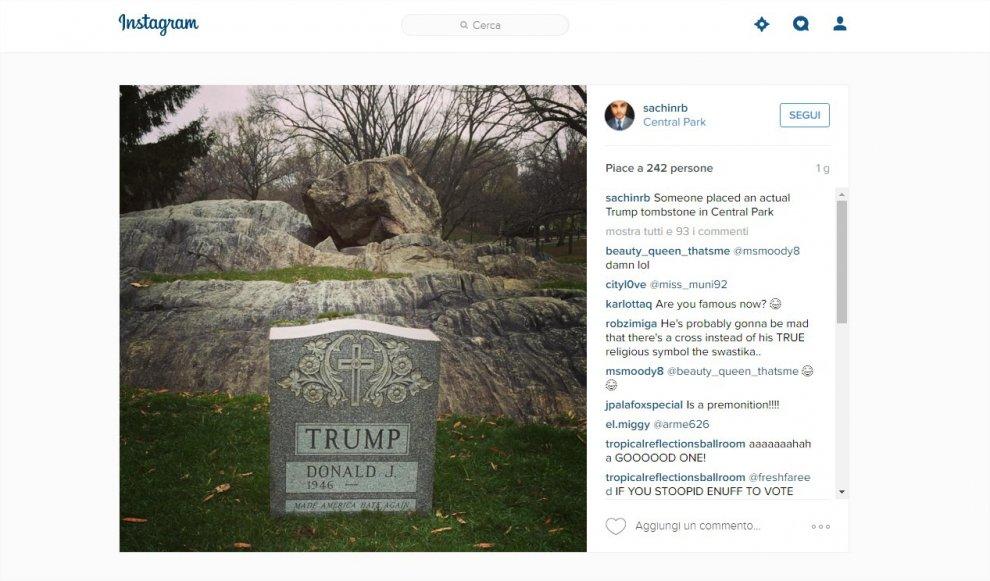 Donald Trump, burla macabra: spunta la tomba a Central Park