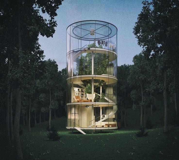 Vivere dentro la natura, la casa di vetro è intorno all'albero