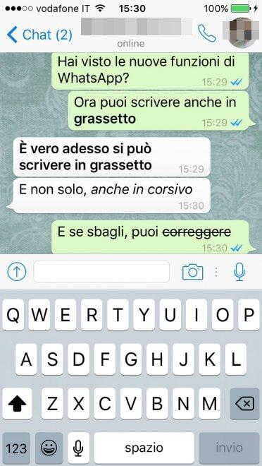 Whatsapp con corsivo, grassetto e barrato: arriva il testo formattato