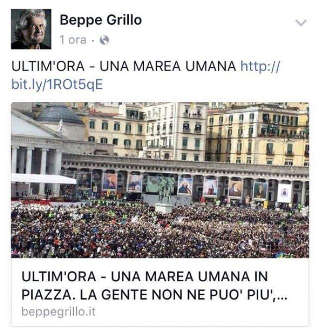 Grillo: ''Marea umana contro Renzi'', ma è la piazza di papa Francesco