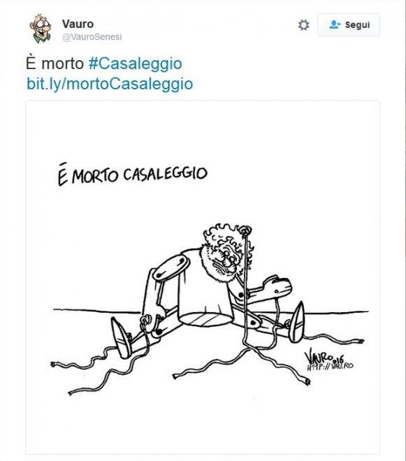 Morte Casaleggio, la rivolta sui social contro la vignetta di Vauro