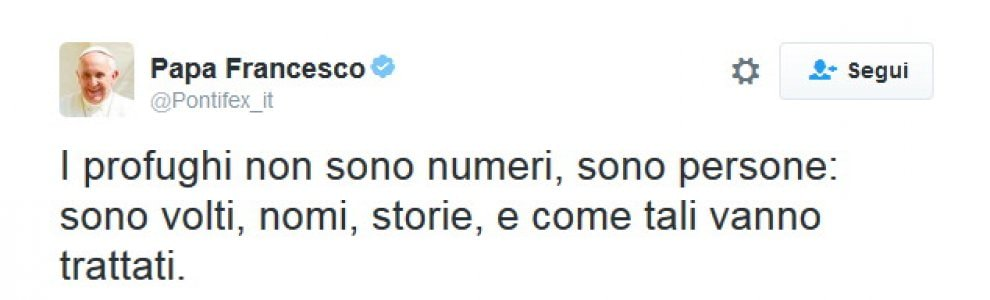 Papa Francesco a Lesbo, il tweet: ''I profughi sono persone, non numeri''