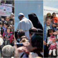 Papa Francesco a Lesbo, l'abbraccio ai profughi: fotoracconto