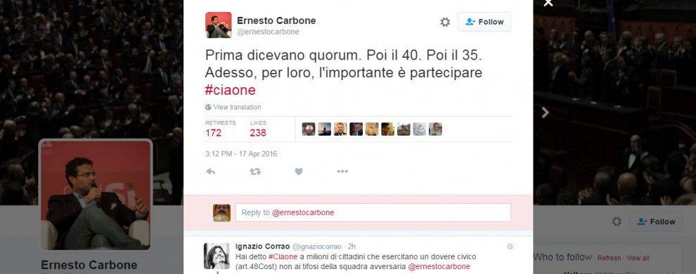 Referendum Trivelle, Carbone (Pd) twitta #ciaone e si scatena la polemica