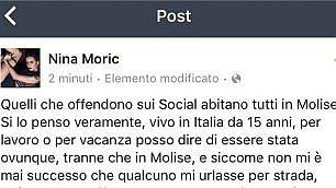 Nina Moric contro il Molise: ''Quelli che offendono sui social vengono tutti da lì''