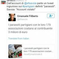 """Tweet Emanuele Filiberto contro partigiani scatena la Rete. Lui: """"Account violato"""""""