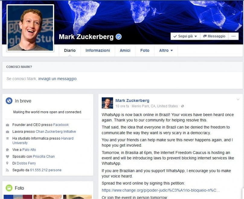 """Brasile, Zuckerberg: """"Alle 23 davanti Parlamento contro blocco WhatsApp"""", il post su Fb"""