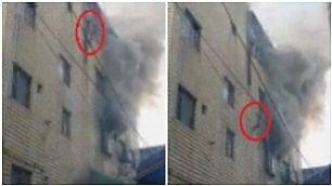 Palazzo in fiamme, madre lancia i suoi 3 figli dalla finestra: salvati