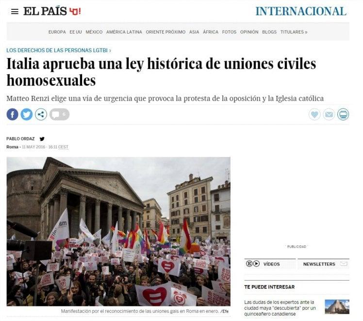 Unioni civili, il sì alla fiducia: la notizia sui siti stranieri