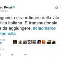 Addio a Pannella, da Renzi a Vasco: il cordoglio sui social
