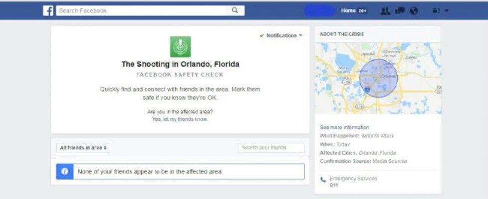 Orlando, Facebook attiva il Safety Check per la strage del Pulse