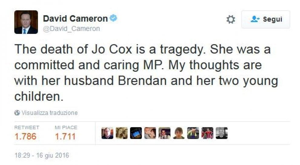 Omicidio Jo Cox, i tweet di cordoglio per la deputata laburista