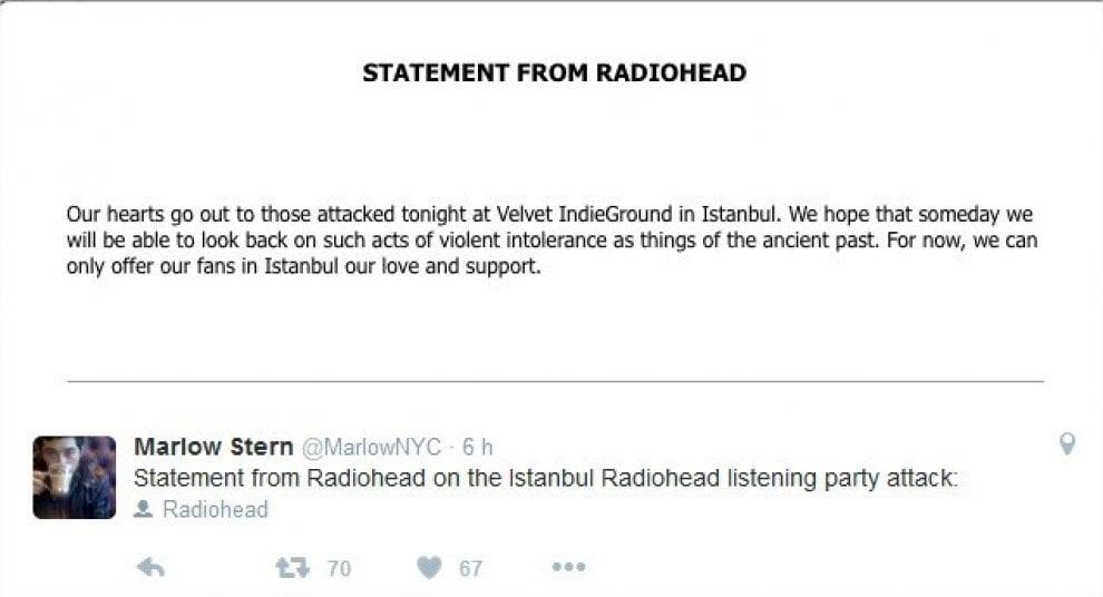 Istanbul, fan dei Radiohead aggrediti in negozio di dischi