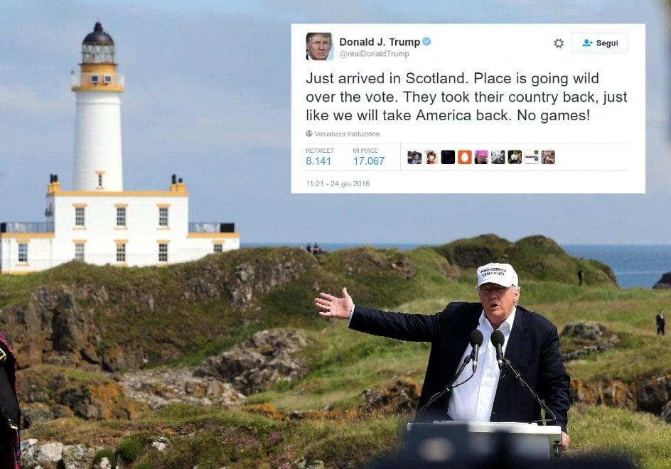 Brexit, Trump in Scozia esulta per l'uscita dall'Ue. La gaffe fa infuriare i cittadini scozzesi