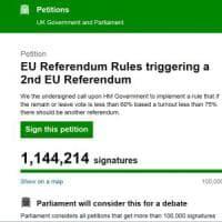 Brexit, oltre un milione di inglesi per un nuovo referendum sulla Ue