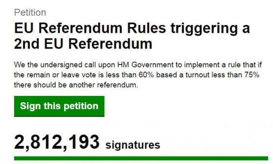 Brexit, quasi tre milioni di firme per un nuovo referendum sulla Ue