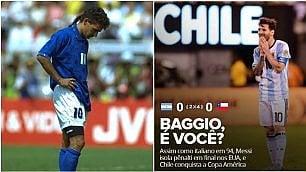 """Messi sbaglia come Roby nel '94 Brasile ironizza: """"Baggio sei tu?"""""""