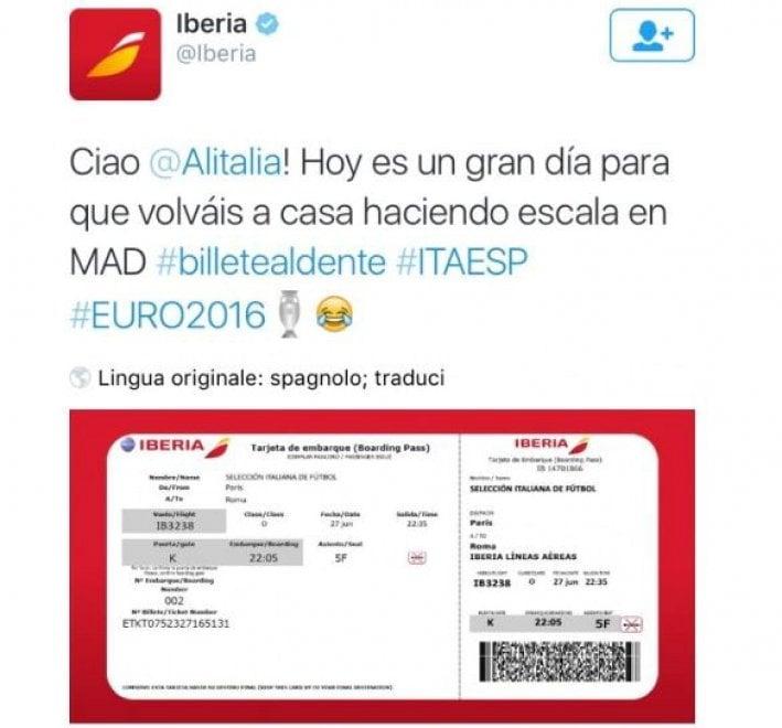 """Euro 2016, Iberia sfotte Alitalia: """"Ecco il biglietto per tornare"""". Ma si è dovuta ricredere"""