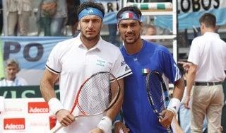 Tennis, Coppa Davis: Fognini pareggia ma poi va ko nel doppio. Italia-Argentina 1-2