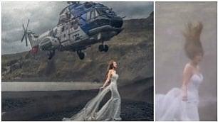 Elicottero sulla sposa: foto epica Ma il volo ravvicinato la stravolge