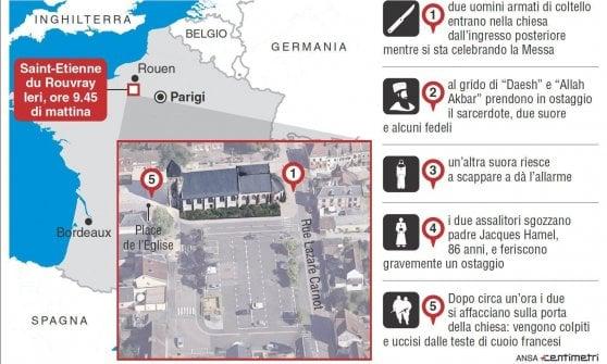 Francia, attacco a una chiesa vicino a Rouen. Sgozzato il parroco, uccisi i killer. L'Is rivendica