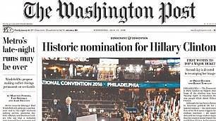 Hillary, prima donna candidata Ma stampa Usa mette Bill in prima