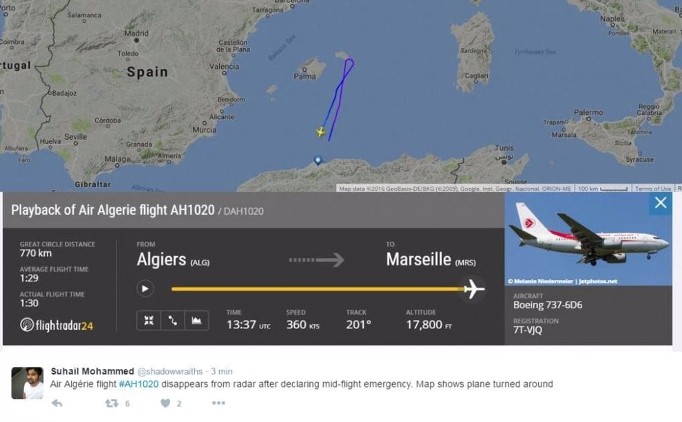 """Falso allarme per volo Air Algerie sparito dai tracker online : """"Rientrato ad Algeri"""""""