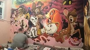 Papà è un artista: per la bimba crea maxi murale Disney    foto