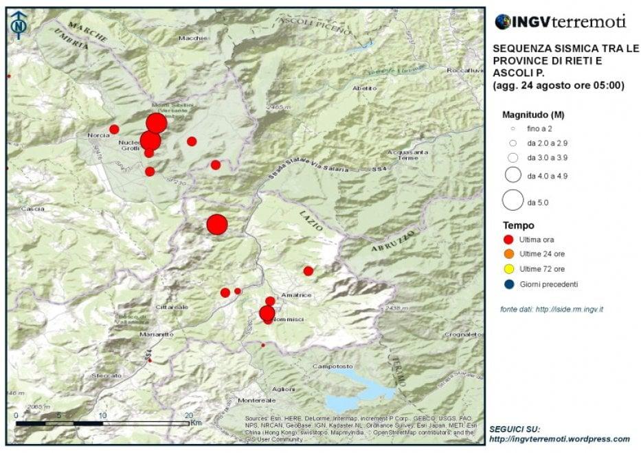 Terremoto nel Centro Italia, la mappa delle aree colpite