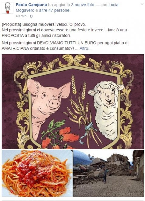 Terremoto, food blogger lancia l'iniziativa: due euro per ogni piatto di amatriciana
