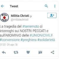 Terremoto, tutta colpa delle Unioni civili: il tweet di Militia Christi