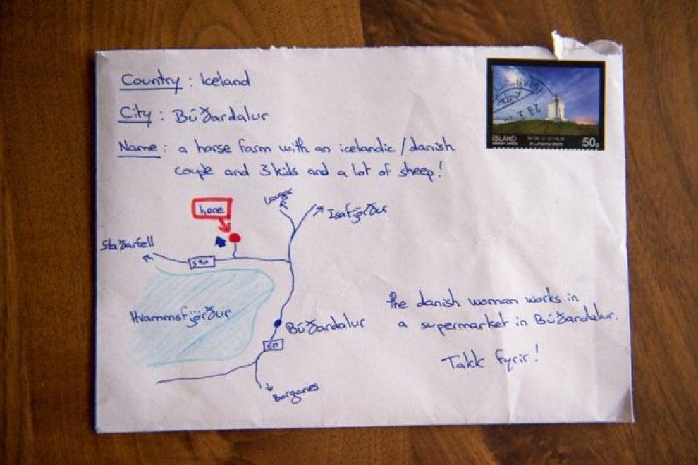 Islanda: una mappa al posto dell'indirizzo, la lettera arriva lo stesso