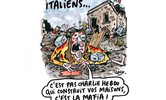 """Charlie Hebdo, vignette su terremoto in Italia: persone sepolte come strati di lasagne. Ambasciata Francia: """"Non ci rappresenta"""""""