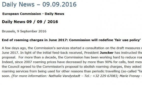 Roaming, dopo proteste la Commissione Ue fa retromarcia su limite 90 giorni