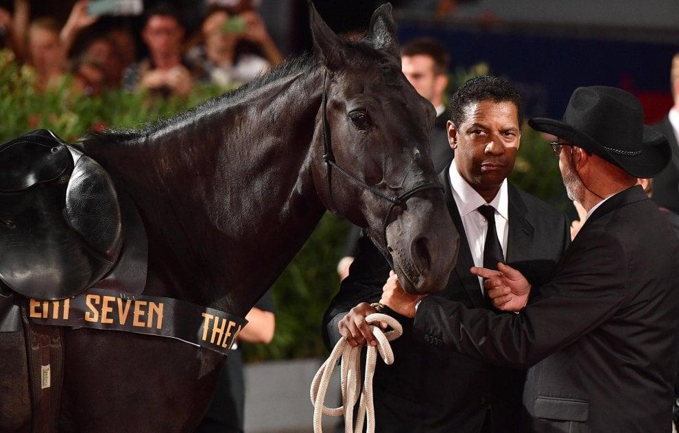 Venezia, 'I magnifici sette', il red carpet degli attori-cowboy a cavallo