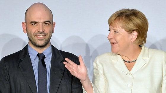 """Merkel: """"A Saviano il riconoscimento e il rispetto della Germania"""""""