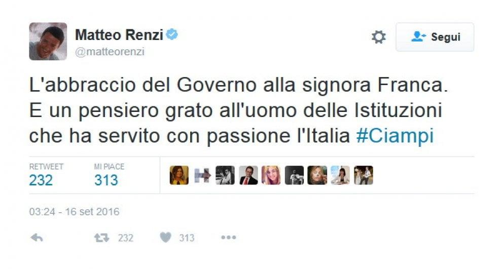 Addio a Ciampi, da Renzi a Fiorello: il cordoglio su Twitter