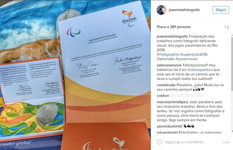 Print do post no perfil do João Maia no Instagram, de 2 papeis um é o certificado de participação nos jogos paralímpicos e outro texto de agradecimento, João Maia diz Finalização dos trabalhos como fotografo deficiente visual, dos jogos paralímpicos do Rio 2016.