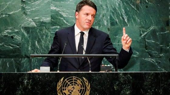 """Renzi all'Onu: """"L'Italia raccoglie sfida di Obama su valori e futuro"""""""