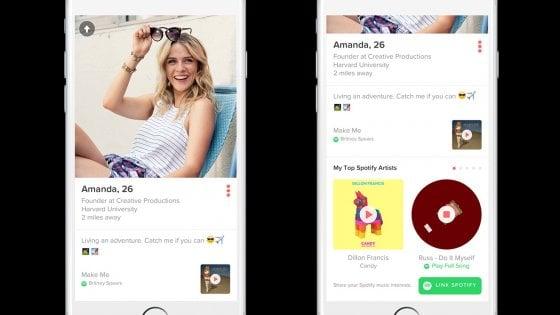 Musica e sesso, Tinder si allea con Spotify: ora puoi scegliere il tuo ''inno''