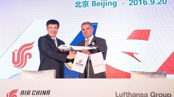 Air China-Lufthansa, nel mirino il 35% del mercato Europa-Cina