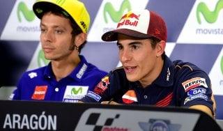 MotoGp, Aragon: Marquez mette pressione a Rossi: ''Lui non può sbagliare''