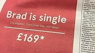 Brad è single, vola a Los Angeles con 130 euro: la geniale pubblicità della low cost norvegese