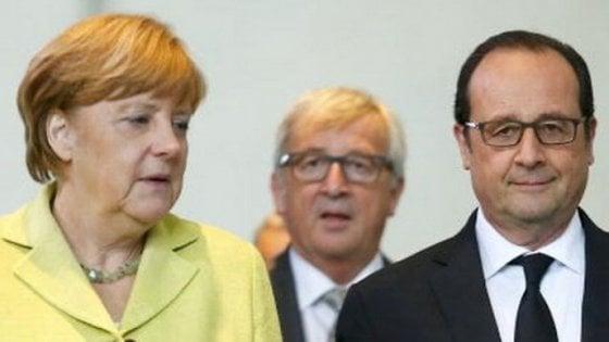 Ue: Juncker, Merkel e Hollande: vertice a tre mercoledì a Berlino
