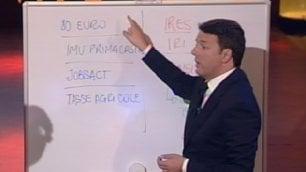 """Pensioni e tagli alle tasse  Renzi sigla il """"patto della lavagna"""""""