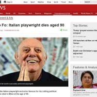 Addio a Dario Fo, la notizia sui siti stranieri