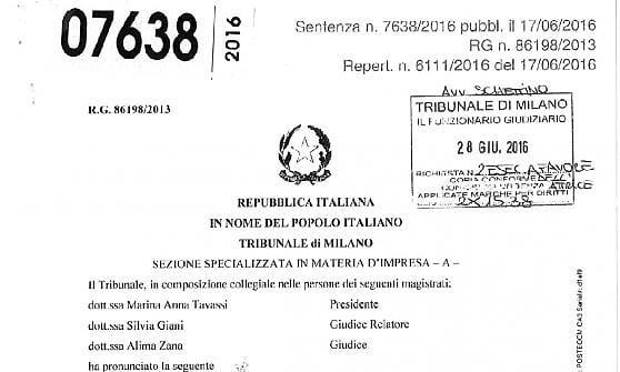 La sentenza del Tribunale di Milano