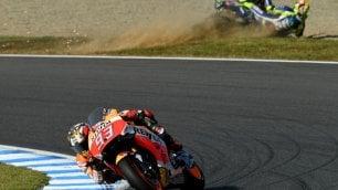 Motogp, la  caduta di Rossi in Giappone