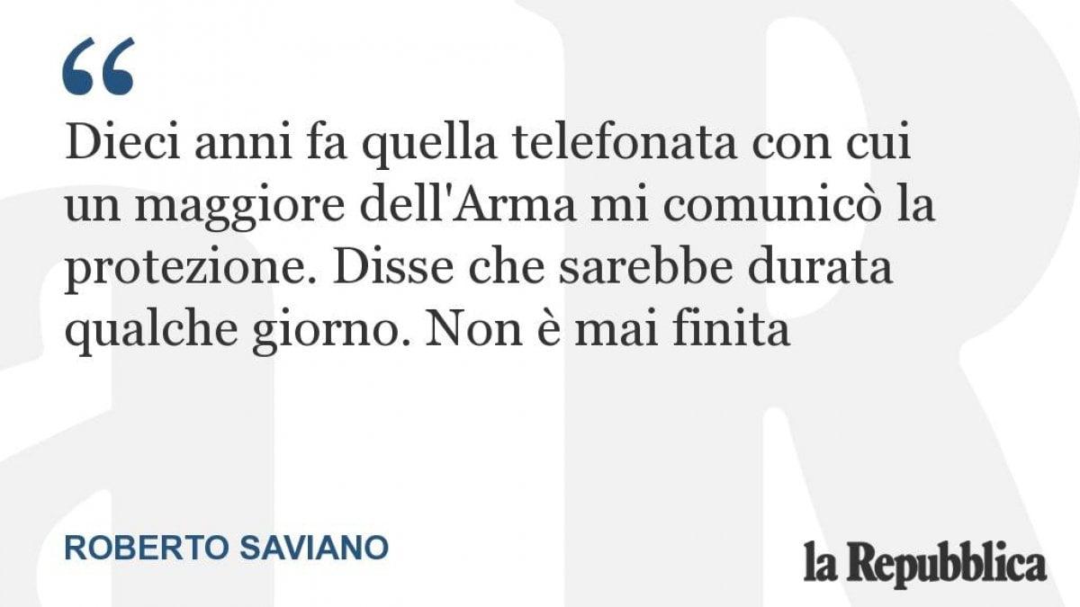 Roberto Saviano racconta su Repubblica i suoi dieci anni sotto scorta