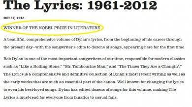 """Nobel, Bob Dylan ha fatto capolino sul suo sito web """"ammette"""" il Premio"""
